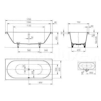 Plieninė vonia Kaldewei Classic Duo 160, 170, 180, 190 cm 3