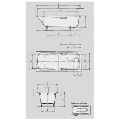 Plieninė vonia Kaldewei Dyna Set Star 150, 160, 170, 180 cm su skylėmis rankenėlėms 3