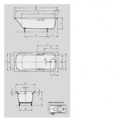 Plieninė vonia Kaldewei Dyna Set 150, 160,170, 180 cm 2