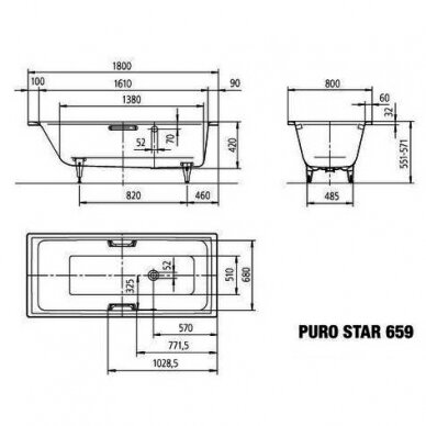 Plieninė vonia Kaldewei Puro Star 160, 170, 180, 190 cm su skylėms rankenėlėms 4