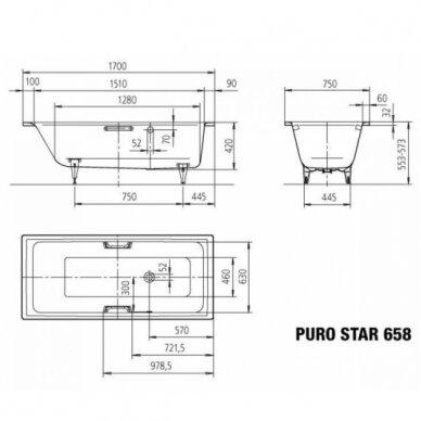 Plieninė vonia Kaldewei Puro Star 160, 170, 180, 190 cm su skylėms rankenėlėms 2