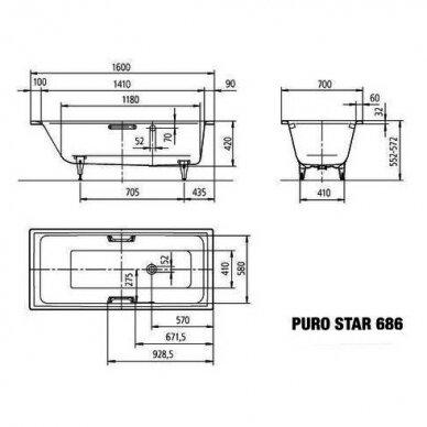 Plieninė vonia Kaldewei Puro Star 160, 170, 180, 190 cm su skylėms rankenėlėms 3