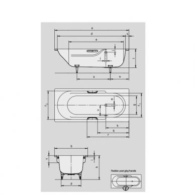 Plieninė vonia Kaldewei Rondo 170,180 cm 3