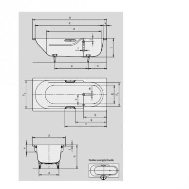 Plieninė vonia Kaldewei Rondo Star 170, 180 cm su skylėmis rankenėlėms 3