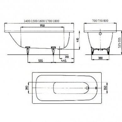 Plieninė vonia Kaldewei Saniform Plus 140, 150, 160, 170, 180 cm 3