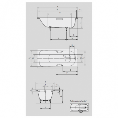 Plieninė vonia Kaldewei Saniform Plus 140, 150, 160, 170, 175, 180 cm su Easy Clean danga 2