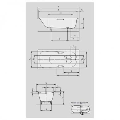 Plieninė vonia Kaldewei Saniform Plus 140, 150, 160, 170, 180 cm su Easy Clean danga 3