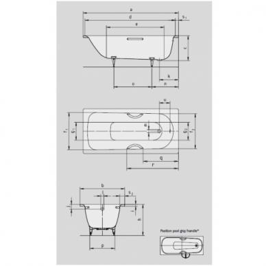 Plieninė vonia Kaldewei Saniform Plus Star 140, 150, 160, 170, 180 cm su skylėmis rankenėlėms 2