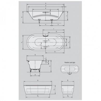 Plieninė vonia Kaldewei Vaio Duo Oval 180 cm 3