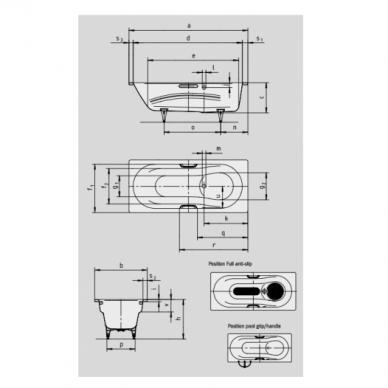 Plieninė vonia Kaldewei Vaio set 160, 170, 180 cm 3