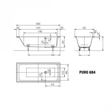 Plieninė vonia Kaldewei Puro 160,170,180,190 cm su šoniniu persipylimu 2