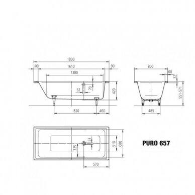 Plieninė vonia Kaldewei Puro 160,170,180,190 cm su šoniniu persipylimu 3