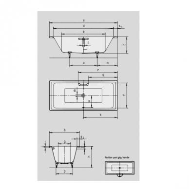 Plieninė vonia Kaldewei Puro Duo 170,180,190 cm 2