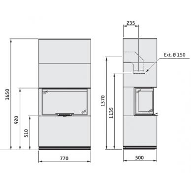 Plieninis židinio įdėklas Contura CI51 su balta plieno apdaila, trijų pusių stiklu, pakeliamomis durimis, malkinis, 10 kW 2