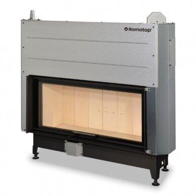 Plieninis židinio ugniakuras KV HEAT H3LG01 110.. su pak. 50x110 cm, malkinis, 16 kW, 110 m²