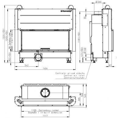 Plieninis židinio ugniakuras KV HEAT H3LG01 110.. su pak. 50x110 cm, malkinis, 16 kW, 110 m² 2