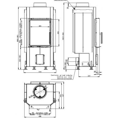Plieninis židinio ugniakuras Romotop Dynamic D2K01 35.., 6 kW, malkinis 2