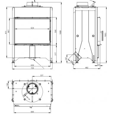 Plieninis židinio ugniakuras Romotop Dynamic D2M 01 66.. su dvigubu stiklu, 7 kW, malkinis 2