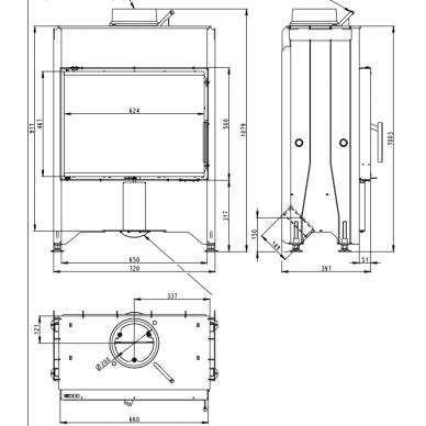 Plieninis židinio ugniakuras Romotop Dynamic D2M13 66.. su trigubu stiklu, malkinis, 7 kW 2