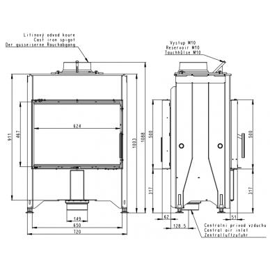 Plieninis židinio ugniakuras Romotop Dynamic DB2M13 66.. su galinėmis durelėmis, malkinis, 6 kW 3