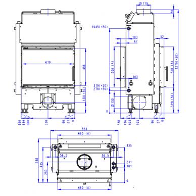 Plieninis židinio ugniakuras Romotop Dynamic DWB2M01 66.. su šilumokaičiu, malkinis, 15,3 kW 2