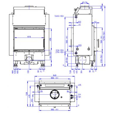 Plieninis židinio ugniakuras Romotop Dynamic DWB2M01P 66..P su šilumokaičiu, malkinis, 15,6 kW 2