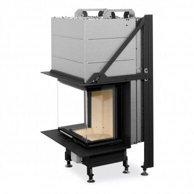 Plieninis židinio ugniakuras Romotop Heat HC3LE01+K1 50.. su montavimo rėmu, stiklas lenktas, malkinis, 7,4 kW