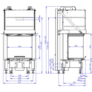 Plieninis židinio ugniakuras Romotop Heat HC3LE01+K1 50.. su montavimo rėmu, stiklas lenktas, malkinis, 7,4 kW 3