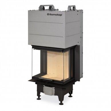 Plieninis židinio ugniakuras Romotop Heat HC3LE21 50.. trijų stiklų, malkinis, 7,4 kW