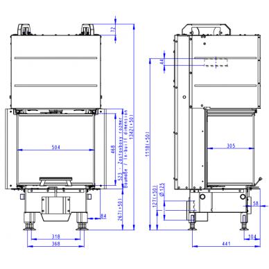Plieninis židinio ugniakuras Romotop Heat HC3LE21 50.. trijų stiklų, malkinis, 7,4 kW 2