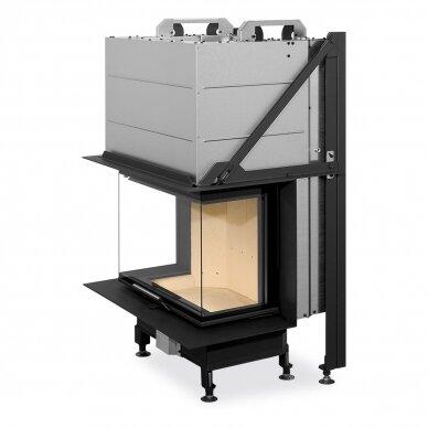 Plieninis židinio ugniakuras Romotop Heat HC3LH21+K1 65.., su montavimo rėmu, stiklas trijų dalių, 10,1 kW, malkinis