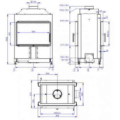 Plieninis židinio ugniakuras Romotop Heat TUNNEL 70.., malkinis, 70 m2, 10,3 kW 2