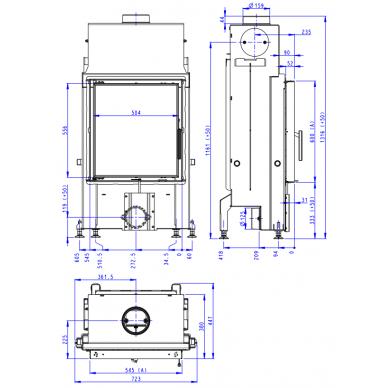 Plieninis židinio ugniakuras Romotop IMPRESSION 2G 55.. atveriamomis durimis, 10,9 kW, malkinis 4