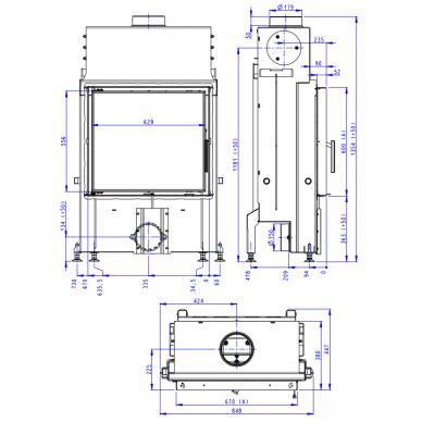 Plieninis židinio ugniakuras Romotop IMPRESSION 2G 67.. atveriamomis durimis, 12,6 kW, malkinis 2