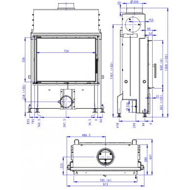 Plieninis židinio ugniakuras Romotop IMPRESSION 2G 80.. atveriamomis durimis, malkinis, 14,3 kW 4