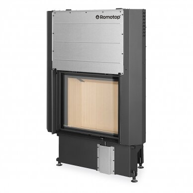 Plieninis židinio ugniakuras Romotop IMPRESSION 2G L 67.. su pakeliamomis durimis, malkinis, 12,6 kW
