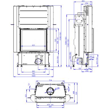 Plieninis židinio ugniakuras Romotop IMPRESSION 2G L 67.. su pakeliamomis durimis, malkinis, 12,6 kW 2