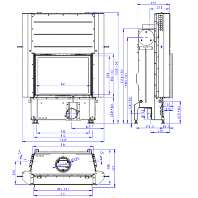 Plieninis židinio ugniakuras Romotop IMPRESSION 2G L 80. su pakeliamomis durimis, 14,3 kW, malkinis 4