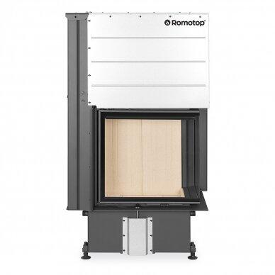 Plieninis židinio ugniakuras Romotop IMPRESSION R2G L 58... su pakeliamomis durimis, dešininis, malkinis, 9,6 kW 2