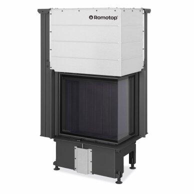 Plieninis židinio ugniakuras Romotop IMPRESSION R2G L 58... su pakeliamomis durimis, dešininis, malkinis, 9,6 kW 5