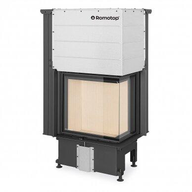 Plieninis židinio ugniakuras Romotop IMPRESSION R2G L 58... su pakeliamomis durimis, dešininis, malkinis, 9,6 kW