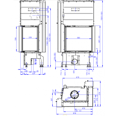 Plieninis židinio ugniakuras Romotop IMPRESSION R2G L 58... su pakeliamomis durimis, dešininis, malkinis, 9,6 kW 6