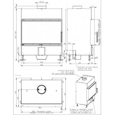 Plieninis židinio ugniakuras Romotop KV HEAT H2P01 70.. (gylis 490mm), malkinis, 90 m², 13 kW 2
