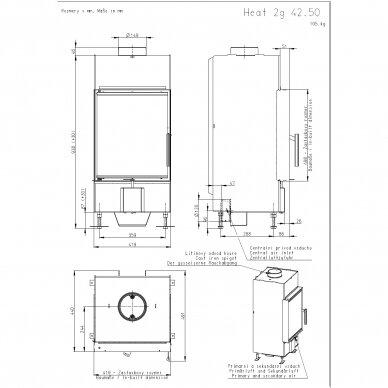 Plieninis židinio ugniakuras Romotop KV HEAT H2Q01, malkinis, 9 kW, 70 m² 2