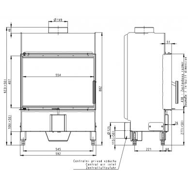 Plieninis židinio ugniakuras Romotop KV HEAT H2T13 59.. gylis 370mm, 5 kW, malkinis 2