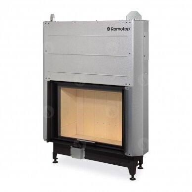 Plieninis židinio ugniakuras Romotop su pakel. durimis 88.., 95 m², 14 kW, malkinis