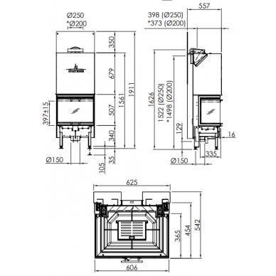 Plieninis židinio ugniakuras Spartherm ARTE 3RL-60h-4S Standart, 13 kW, 130 m2, malkinis 2