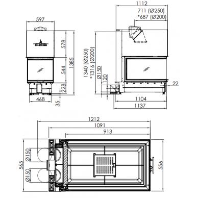 Plieninis židinio ugniakuras Spartherm ARTE U-90h-4S, d., 16,9 kW, malkinis, 150 m2 2