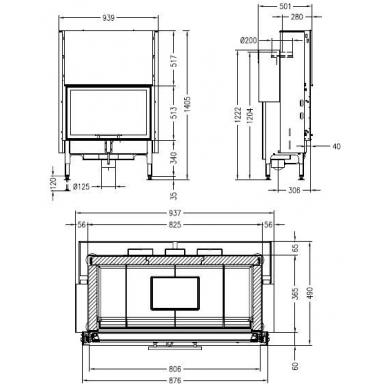 Plieninis zidinio ugniakuras Spartherm Global 1Vh80 -14,5kW, 145 m2, malkinis 2