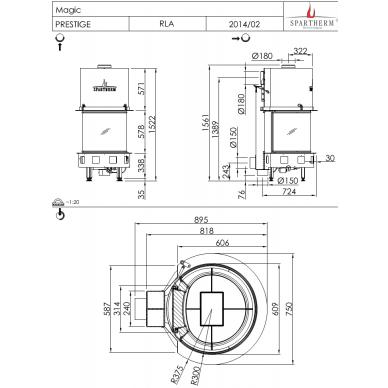Plieninis židinio ugniakuras Spartherm Magic, lenktu stiklu, malkinis, 15,6 kW, 90 m2, malkinis 2